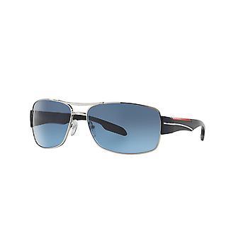 Prada Sport Linea Rossa SPS53N 1BC/5I1 Srebrne/Szare Niebieskie Gradientowe Okulary przeciwsłoneczne