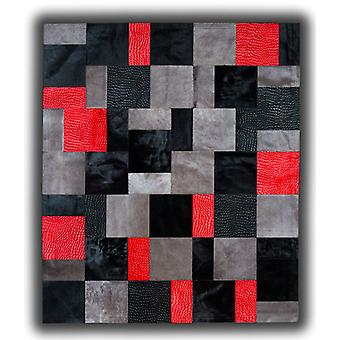 Rugs -Patchwork Leather Cubed Cowhide - Red Rivoli
