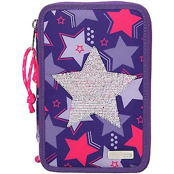 Topmodel 3-ply Pencil Case With Star Sequins, Purple