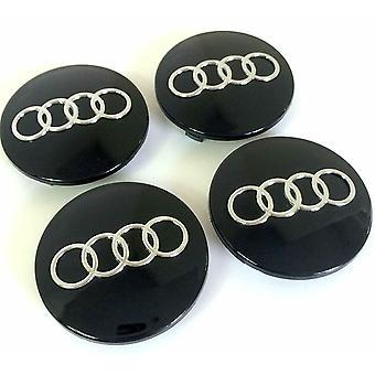Black Audi Wheel Centre Caps Hub Badges 68mm-70mm 4PCS For TT A3 A4 A5 A6 A7 Q5 Q7 RS4