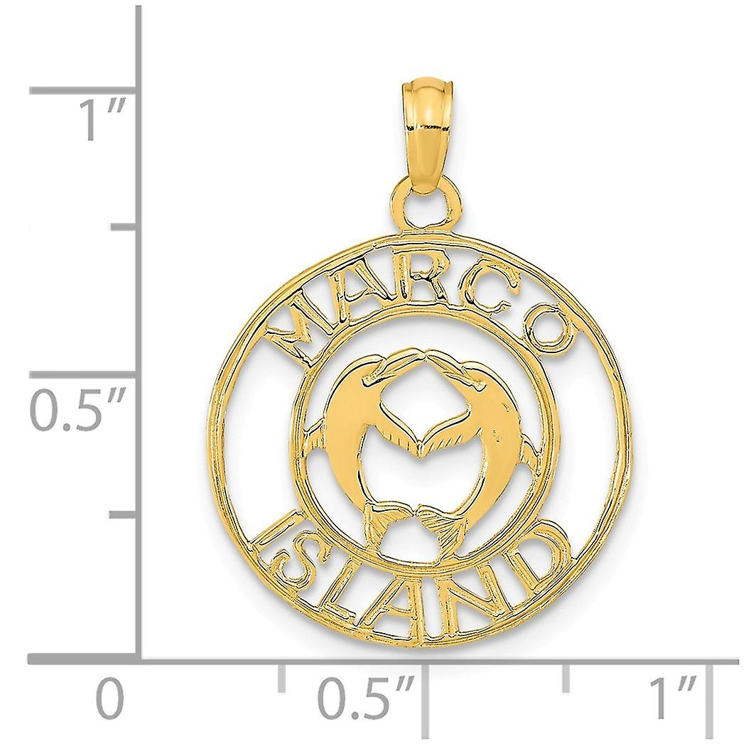 14k Gold Marco Island With Dolpins In Round Frame Charm Pendant Necklace Jewelry Gifts for Women