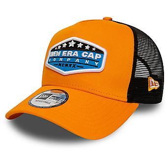 New Era Adjustable Trucker Cap - BRAND PATCH orange