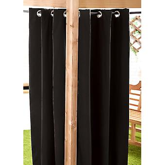 Black Water Resistant Outdoor 55-quot;x108-quot; Eyelet Curtain Panel
