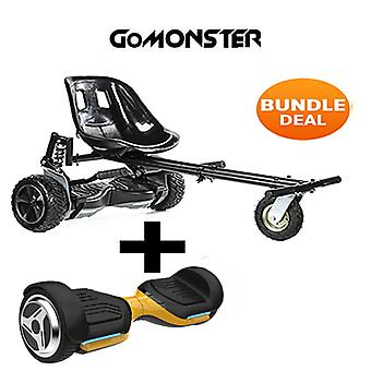 "6.5"" G PRO Gold Bluetooth Hoverboard with Go Monster Hoverkart in Black"