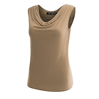 AMORE ALLFY Women's Ruched Sleeveless Blouse Stretch Tank Top Mocha XX-Large