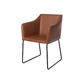 Sedia Allison Color Marrone, Nero in PU, Metallo 57x63x85 cm
