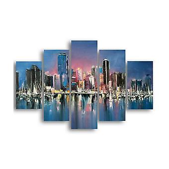 Wielokolorowe malowanie New YorkB w MDF, L19xP0.3xA40 cm (2 szt),L19xP0.3xA50 cm (2 szt),L19xP0.3xA60 cm (1 szt.)