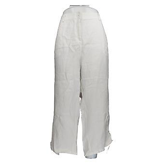 Charter Club Women's Plus Pants Linen Straight Leg White