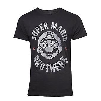 Men-apos;s Super Mario Bros Biker Distressed Black T-Shirt