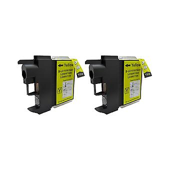 RudyTwos 2x Replacement for Brother LC-980Y Ink Unit Yellow Compatible with MFC-250C, MFC-255CW, MFC-290C, MFC-295CN, MFC-297C, MFC-490CN, MFC-5490CN, MFC-5890CN, MFC-790CW, MFC-795CW, MFC-6490CW, MFC