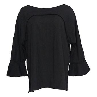 Belle by Kim Gravel Women's Top TripleLuxe Knit Ruffle Sleeve Black A355045