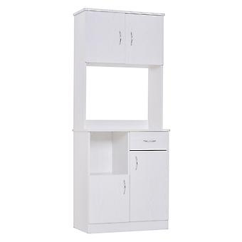 HOMCOM Kitchen Cabinet Door Shelves Drawer Microwave Storage Unit Wood Pantry Cupboard Organiser White 178H x 71W x 41D cm