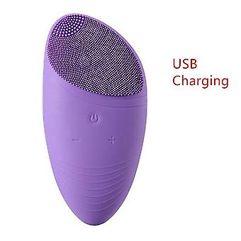 Usb Rechargeable Protable Silicone Electric Facial Cleansing Brush - Sonic Vibration Face Cleaner Massager