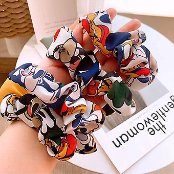 Fashion Disney Hair Pins Mickey Minnie Ponytail Ties Rope Women Hair Accessories- Cartoon Chiffon Bow Girls Vintage Headband