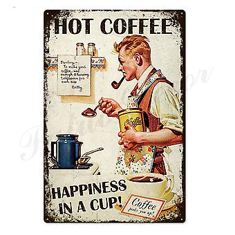 Coffee Tin Sign, Vintage Metal Signs Plaque For Wall Decor