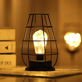 Modern Style, Iron Shell Cage Shape- Blub Light,  Table Lamp