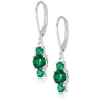Sterling Silver Created Emerald 5mm and 3mm Three, Created Emerald, Size No Size