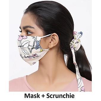 أزياء القطن الفم مع Scrunchie - الزهور البيج