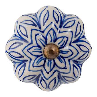 Nicola Frühling Keramik Schrank Schublade Knopf - Vintage Blumen-Design - dunkelblau