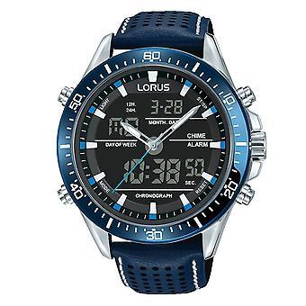 Lorus stilvolle analoge/digitale Chronograph strukturiert blau Lederarmband RW643AX9