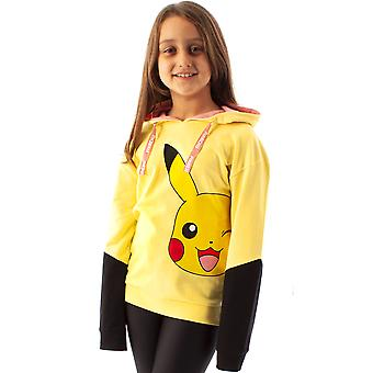 Pokemon Hoodie For Girls | Kids Yellow Pikachu Hooded Jumper Sweater | Gamer Gifts Clothing Merchandise