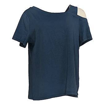 Anybody Women's Top Cozy Knit Asymmetrical Tee Blue A391143