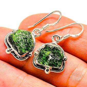 "Rough Chrome Diopside Earrings 1 1/4"" (925 Sterling Silver)  - Handmade Boho Vintage Jewelry EARR407542"