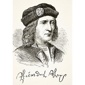 Portrait And Signature Of King Richard Iii Of England 1452 To 1485 From The National And Domestic History Of England By William Aubrey Published London Circa 1890 PosterPrint