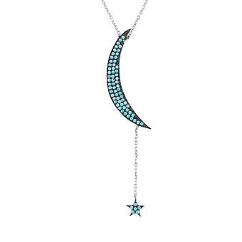Large Sterling Silver Blue Moon & Star Turquoise CZ Gemstone Pendant Necklace
