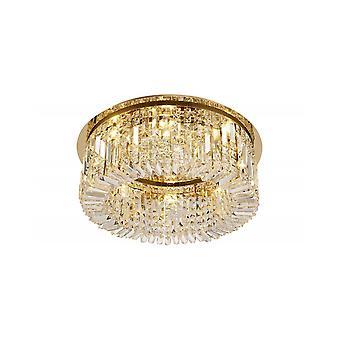 Dottie 45cm Runde Flush Kronleuchter, 5 Leicht E14, Gold/Kristall