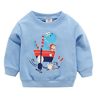 Toddler Kid Baby Girl Boy Ubrania, Długi rękaw Cartoon Drukowane T-shirt Topy