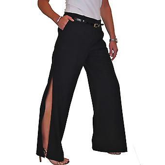 iscoolfashion kvinners løs side splittet bukser med belte splittet hem brede ben bukser