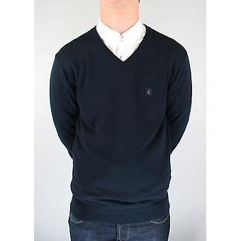 Brandon Navy Knitted V-Neck Jumper