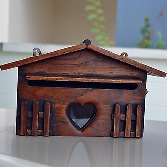 Wooden Post Box Exquisite Mailbox, Outdoor Rainproof Suggestion Box Creative