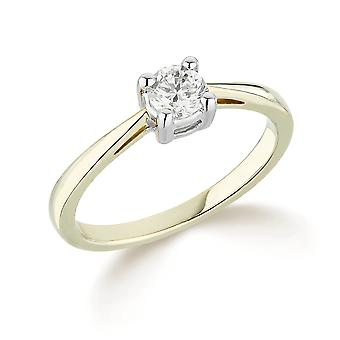 9K Yellow Gold Slim Tapered 4 Claw Setting 0.20Ct Certified Solitaire Diamond Engagement Ring