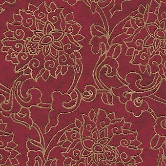 As Creation Asian Fusion Red And Gold Wallpaper Embossed Vinyl Paste The Wall