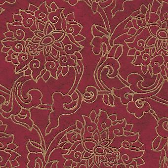 Als Schöpfung asiatische Fusion rot und Gold Tapete geprägt Vinyl Paste die Wand