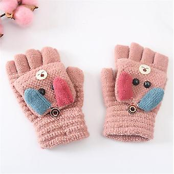 Copii Iarna Cald, Cute Cartoon Soft Flip Half Finger Gloves