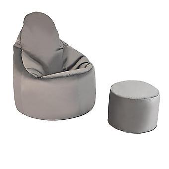 Slate Grey Velvet Highback Bean Bag Chair Set Indoor Gaming Beanbag Lounger Gamer Seat with Footstool