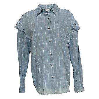 Peace Love World Women's Top Plaid Printed Shirt c/ Ruffles Blue A351856
