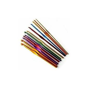 12 Stück Aluminium mehrfarbige Häkelhaken mit Fall (2mm-8mm Nadel-Set) - zum Stricken