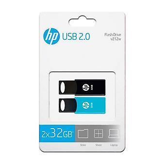 Pendrive HP 212 USB 2.0 blå/svart (2 uds)