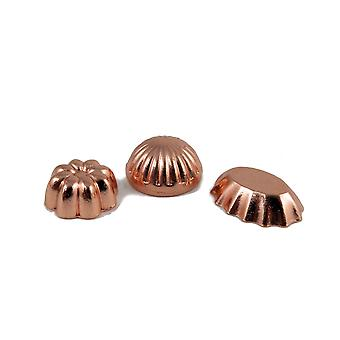 Dolls House Set Of 3 Copper Jelly Moulds Miniature 1:12 Kitchen Accessory