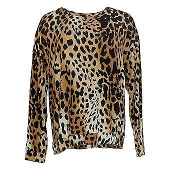 G.I.L.I. Got It Love It Women's Sweater Animal Print Crewneck Brown A384618