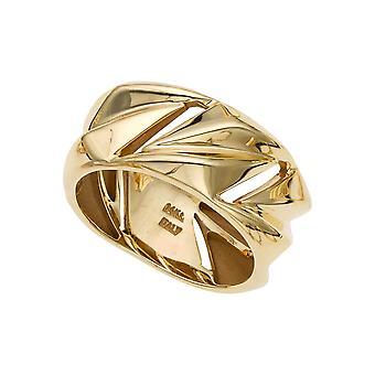 14K gult guld Womens band ring, storlek 7