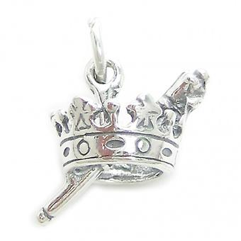 Crown And Sceptre Sterling Silver Charm .925 X 1 Carnival Queen Charms - 3422