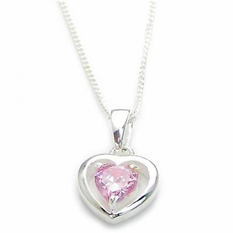 Roze Cz hart sterling zilveren hanger op 16 inch ketting .925 - 6550