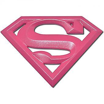 Supergirl Símbolo caliente rosa cromo plateado emblema