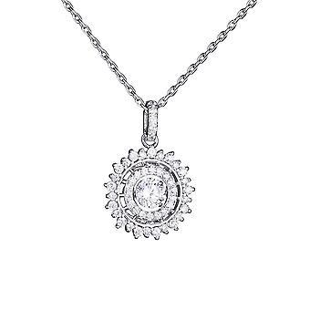 Sterling gümüş kolye döndürülebilir zirkonya ışıltı 18 inç