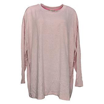 Isaac Mizrahi En direct! Femmes & s Top Plus Français Terry Relax Knit Pink A384229